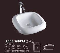 Product Name: Bowl Sink Model No.: DB-A009/A009A Dimension:510X510X140mm /470X470X110mm  (1 inch = 25.4 mm) Volume:0.049CBM / 0.035CBM Gross Weight: 11 KGS / 10 KGS  (1 KG ≈ 2.2 LBS) Bowl shape: Square