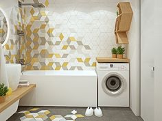 How To Organise a Small Washing Machine Yard Area Trendy Bathroom Tiles, Laundry In Bathroom, House Bathroom, Small Bathroom, Modern Baths, Modern Tiles, Bathroom Design, Bathroom Decor, Tile Bathroom