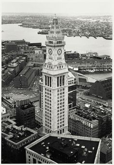 Custom House Tower in Boston - the city's first skyscraper.    Photo by Boston Public Library Print Dept.    The Custom House (now Marriott's Custom House) is a National Historic Landmark.    Brief History