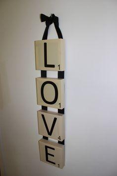 Scrabble Wall Art, Canvas, LOVE vertical canvas display. $55.00, via Etsy.