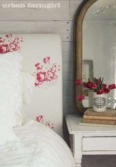 Cabbages and Roses @ http://urbanfarmgirlandco.blogspot.com/2011/05/cabbages-roses-guest-roomthe-reveal.html