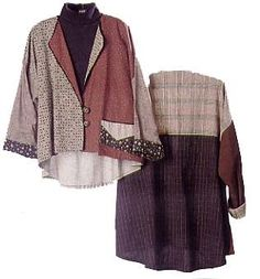 Nonaim Coat pattern. The Nonaim coat is loose fitting, flared back, easy to wear, easy to make unlined garment with finished French seams. It is an elegant compliment for any skirt or pant in your wardrobe. Available in two lengths, with two back variations and optional pocket and trims all in one pattern. Sizes: S to XL (6-20). $9.00