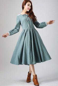 charming dress linen dress midi dress with lace detail on shoulder and cuff custom made womens dress green dress pleated dress by xiaolizi Linen Dresses, Modest Dresses, Trendy Dresses, Casual Dresses, Fashion Dresses, Swing Dress, Dress Skirt, Lace Dress, Shirtwaist Dress