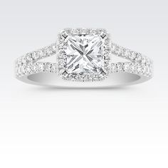 Cushion Halo Split Shank Diamond Engagement Ring with Princess Cut Diamond. Available with your choice of ruby, diamond or sapphire center stone.