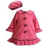 Toddler Girls FUCHSIA-PINK RUFFLE & ROSETTE FLEECE COAT