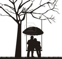 Tree swing couple silhouette