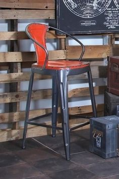 "Metal Bar Chair - Red - 43"" x 20"" x 16"" by Garden Escape on @HauteLook . . . Love the pop of color!"