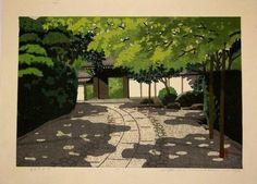 """Ryuanji Ryokuin"", Japanese Woodblock:  Ido Masao."