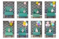 Month by month idea with balloons.  This would be cute to have all 12 pics on display at a 1st Birthday party.