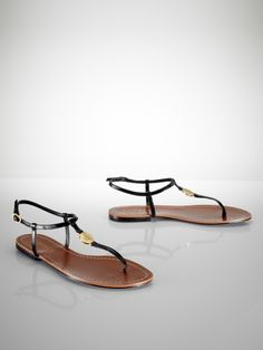 Aimon Leather Flat Sandal -Ralph Lauren UK.These look gorgeous on with skinny jeans!.