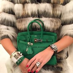 Fabulous fur coat, Hermes Birkin bag and red nails for fab style. #hermes