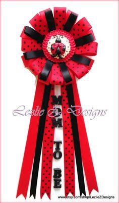 Lady Bug Theme Baby Shower Corsage Pin Keepsake por LezlieZDesigns