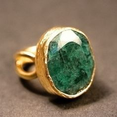 raw emerald and gold ring
