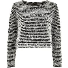 Black stripe fluffy knitted top #riverisland