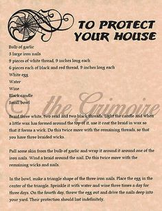 Protect your House spell, Book of Shadows Page, Witchcraft, Wicca, Magick Spells