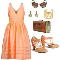 """""""Peachy & pretty. Kind of like my naked butt."""" by robinplemmons on Polyvore"""