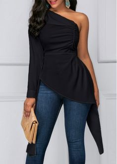 Black One Shoulder Asymmetric Hem Blouse, free shipping worldwide at rosewe.com.