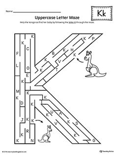 Uppercase Letter K Maze Worksheet Worksheet.If you are looking for creative ways to help your preschooler or kindergartener to practice identifying the letters of the alphabet, the Uppercase Letter Maze is the perfect activity. English Stories For Kids, English Worksheets For Kids, Reading Worksheets, Alphabet Worksheets, Letter Maze, Letter K, Mazes For Kids, Abc For Kids, Body Parts Preschool