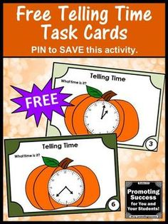 You will download FREE printable telling time task cards for teaching students in 1st, 2nd or 3rd grade. They work well in math centers or stations for SCOOT games or other fun activities. They are aligned with Common Core lesson plans for a review, test prep, formative assessment or as extra practice for special education kids. They include telling time to the hour, half hour and minute.