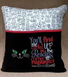 Reading Pillow  Kitty  Cat    Embroidered  Hypoallergenic