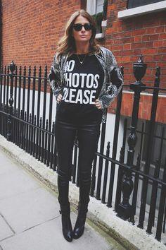 sequin blazer with slogan shirt