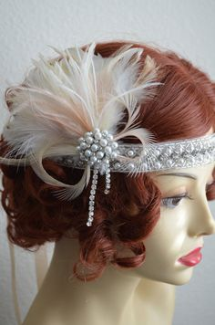 Art Deco headband/headpiece made with blush, champagne and ivory feather headpiece. Beaded rhinestone pearl headpiece.