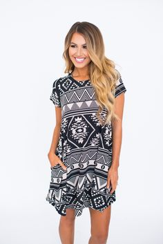 Black/Ivory Tribal Flare Knit Dress - Dottie Couture Boutique