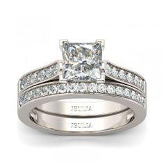 Exquisite 1.0ct Princess Cut Created White Sapphire Engagement Ring / Bridal Set