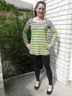 Vogue 8950 - Apple green + gray stripe long sleeve tunic   Amanda's Adventures in Sewing   Bloglovin'