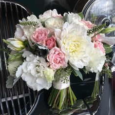 Pink and white dahlias, lisianthus and roses in this elegant bridal bouquet White Dahlias, Bridal Bouquets, Floral Wreath, Roses, Wreaths, Table Decorations, Elegant, Pink, Design