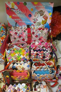 Ollin Arm Candy coin purses, wallets, handbags and more - made from recycled candy wrappers!