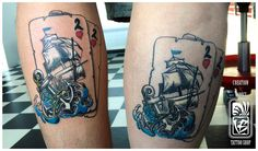 playing card ship anchor old school style tattoo by Balázs Vadócz at Creation by Vadócz Tattooshop