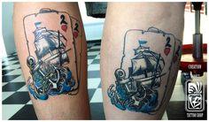playing card ship anchor old school style tattoo by Balázs Vadócz at Creation by Vadócz Tattooshop