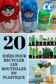 20 Idées Géniales Pour Recycler Facilement Vos Bouteilles En Plastique. Sprinkler, Plastic Bottles, Projects For Kids, Diy And Crafts, Recycling, Lunch Box, Sculpture, Place, Sculptures