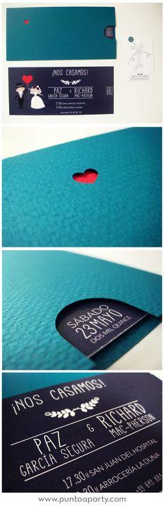Invitaciones de boda muy modernas con un sobre cortado a láser y montado a mano