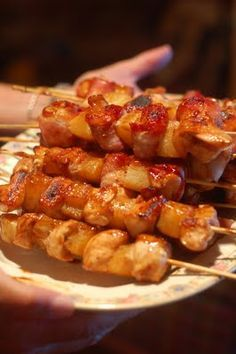 Teriyaki chicken/bacon/pineapple skewers  --  can be grilled or baked!