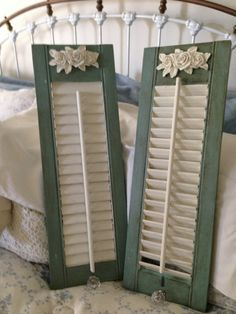 Shabby Chic  Cottage Style Wood Shutters  HandPainted  by thooker, $65.00