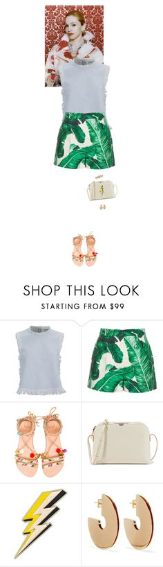 """Outfit of the Day"" by wizmurphy ❤ liked on Polyvore featuring Vanity Fair, Dolce&Gabbana, Elina Linardaki, The Row, Anya Hindmarch, Elizabeth and James, ootd and highwaistedshorts"
