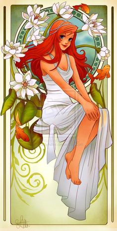 Disney Princess Pinups | Disney Princesses Mucha Style Pin-Up Art | Awesome Artwork