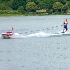 This is the unmanned water skiing boat that's controlled entirely by the skier.