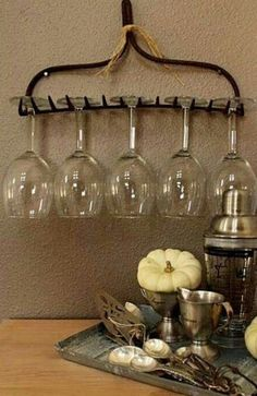 Repurpose an old garden rake as wine glass holder!millenniumwas… fo… Repurpose an old garden rake as wine glass holder!millenniumwas… for information about recycling in the Rock Island and Milan, IL area. Glass Rack, Wine Glass Holder, Garden Rake, Kitchen Themes, Wine Theme Kitchen, Glass Kitchen, Kitchen Utensils, Rustic Kitchen, Farm Kitchen Ideas