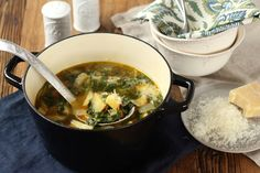 Spicy kale and potato stew with grated parmesan