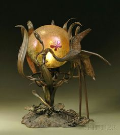Sculptural Table Lamp  Austria, early 20th century  Bronze and art glass  Spherical shade decorated in an iridescent pattern attributed to Loetz with applied insects, over single socket with bronze plant life at base and with a full-figure bird, joined to a naturalistic platform, ht. 16 1/4 in.
