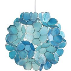 Pier 1 Imports Blue Daisy Capiz Pendant Light ($129) ❤ liked on Polyvore featuring home, lighting, ceiling lights, blue, plug in pendant lights, plug in light, floral swags, capiz light and patio lights
