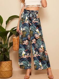 Belt: YesColor: MulticolorDetails: Belted, Ruffle, FrillFabric: Fabric has no stretchFit Type: LooseComposition: 100% PolyesterPant Length: LongPant Type: Wide LegPattern Type: TropicalSeason: Spring/Summer/FallStyle: BohoWaist Type: Mid Waist Printed Palazzo Pants, Printed Pants, Loose Pants, Wide Leg Pants, Cropped Pants, Belts For Women, Clothes For Women, Beach Pants, Ruffle Pants