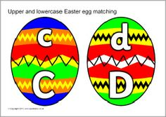 Upper and lowercase letters Easter egg matching (SB4194) - SparkleBox