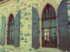 Windows of Cunda Island, Turkey.