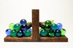 Vintage Lucite Grape Bookends  Cottage or Cabin by BasicDetails