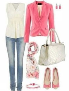 I would wear bootcut jeans with this fabulous girly girl outfit.