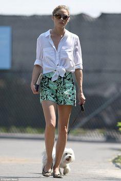 Olivia Palermo wearing Zara High-Waist Printed Shorts and Westward Leaning X Olivia Palermo Palm Beach Sunglasses.